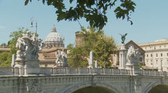 St Peters dome & Tiber bridge, Rome (slomo) - stock footage