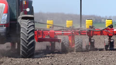 Tractor seeding on a field Stock Footage