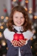Decorative red Christmas bauble - stock photo