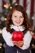Beautiful charming little christmas girl Stock Photos