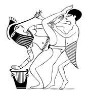 erotic art of ancient egypt - stock illustration