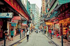 view on downtown street in Macau, China - stock photo