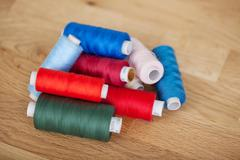 Assorted colourful sewing yarn Stock Photos