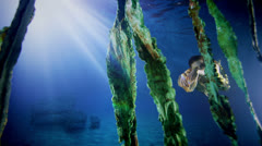 Beautiful mysterious underwater woman in gold dress - stock footage