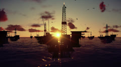 Oil rigs in ocean, time lapse sunset - stock footage