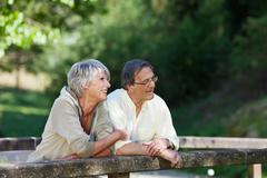 Old couple relaxing while standing on the bridge Stock Photos