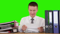 Young Businessman getting fired through a letter, Green Screen - stock footage