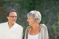 Happy senior couple looking at each other Stock Photos