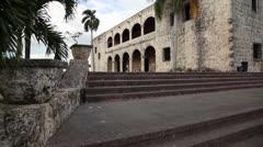 Alcazar de Colon, Christopher Columbus house Dominican Republic glide cam Stock Footage