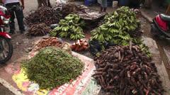 Food at street market  - stock footage