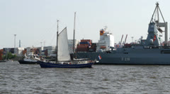 Grand Arrival parade of Hamburg port anniversary Stock Footage
