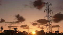 Stock Video Footage of Electricity pillars, timelapse sunrise