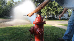 HD Stock 1080p - City Worker Turning off fire hydrant stream - Audio Stock Footage