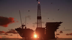 Oil Rig in ocean, close up, beautiful timelapse sunset - stock footage