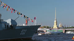 "Military ship ""Courageous"" on the Neva River, Saint-Petersburg - stock footage"