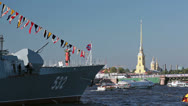 "Stock Video Footage of Military ship ""Courageous"" on the Neva River, Saint-Petersburg"
