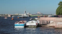 Admiralty embankment with cruise boats, Saint-Petersburg Stock Footage