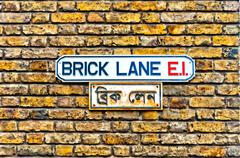 Brick Lane street sign in East End, London - UK - stock photo