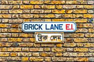 Stock Photo of Brick Lane street sign in East End, London - UK