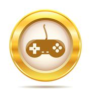 Golden shiny icon Stock Illustration