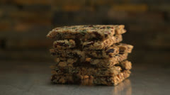 Granola Bar Stack Being Deconstructed HD Video Stock Footage