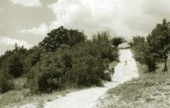 Black & White photo : coontry road turn Stock Photos