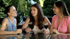 Pretty fashion, women drinking wine and talking in garden Stock Footage