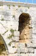le pont julien en provence - france medieval roman bridge - stock photo