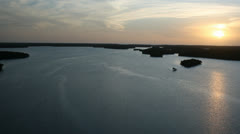 Sunset Over Everglades River Stock Footage