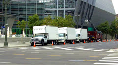 Movie Crew Trucks On Location - Los Angeles Stock Footage