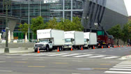 Stock Video Footage of Movie Crew Trucks On Location - Los Angeles