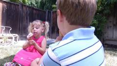 Kids Enjoying Ice Cream on a Hot Day Stock Footage