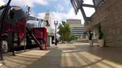 POV of Movie Shoot On Location In Downtown Stock Footage