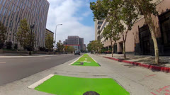 POV Bicycle Traveling In Bike Lane In Downtown Los Angeles Stock Footage