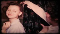 202 - women talk hair style at girl party - vintage film home movie Stock Footage