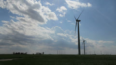 Kansas Windmills and clouds c Stock Footage