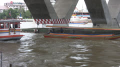 Cross River Ferry at Saphan Taksin p243 Stock Footage