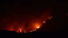 Stock Video Footage of Time Lapse of Large Forest Fire at Night