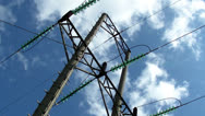 Electrical transmission tower and power lines Stock Footage