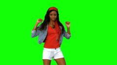 Woman dancing on green screen - stock footage