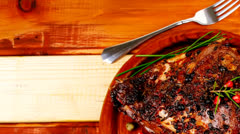 Ribs over wood Stock Footage