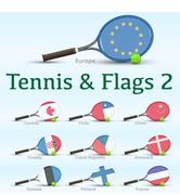 Tennis rackets & flags - stock illustration