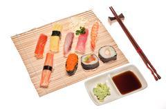 Assortment of traditional japanese sushi Stock Photos