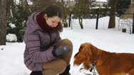 Stock Video Footage of Happy girl playing with English Cocker Spaniel in winter