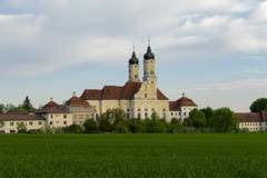 Timelapse Monastery of Roggenburg late afternoon Stock Footage