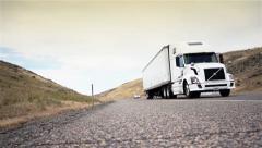 Driving Truck. Truck driving on freeway. Eighteen Wheeler.  - stock footage
