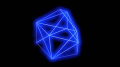 3d grid tetrahedron frame,tech web virtual background. - stock footage