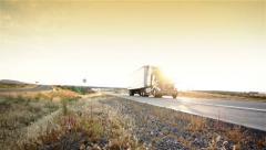 Truck. Truck driving on freeway. Eighteen Wheeler.  Stock Footage