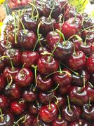 Crowded group of ripe cherries Stock Photos