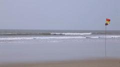 South Goa. Flag on the  beach. Stock Footage